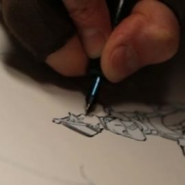 See Rick Inking a Page from THE EXPLORERS GUILD