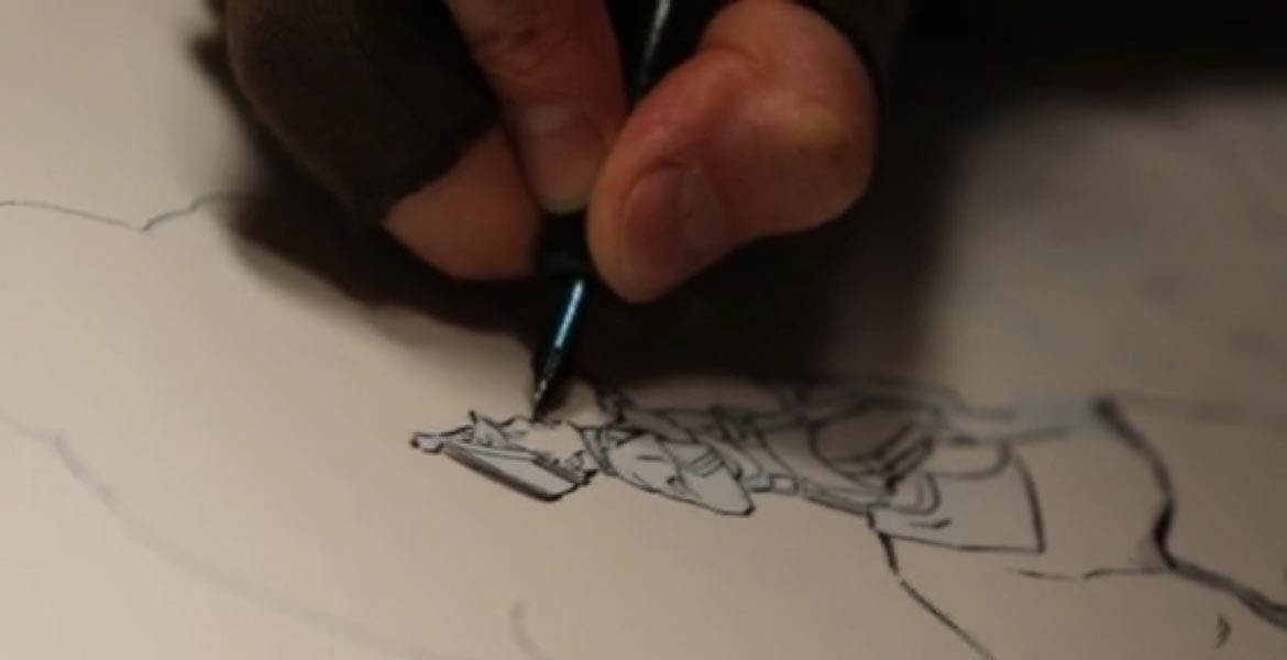SEE RICK INKING A PAGE OF <i>THE EXPLORERS GUILD</i>